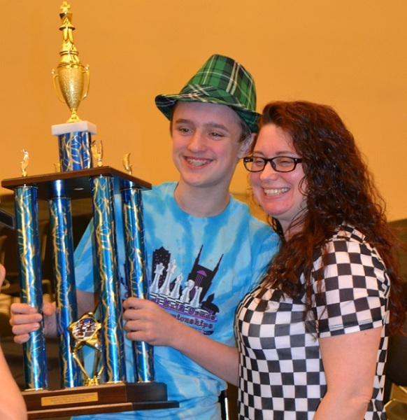 Jonathan Carmina, his Mom and his 1st Place NYS trophy